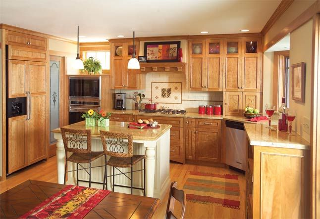 oak cabinets w white island home organization on beautiful kitchen pictures ideas houzz id=64965