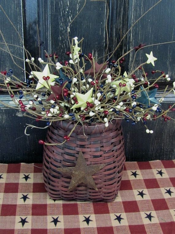 Primitive Basket With Americana Pip Berries Country Home