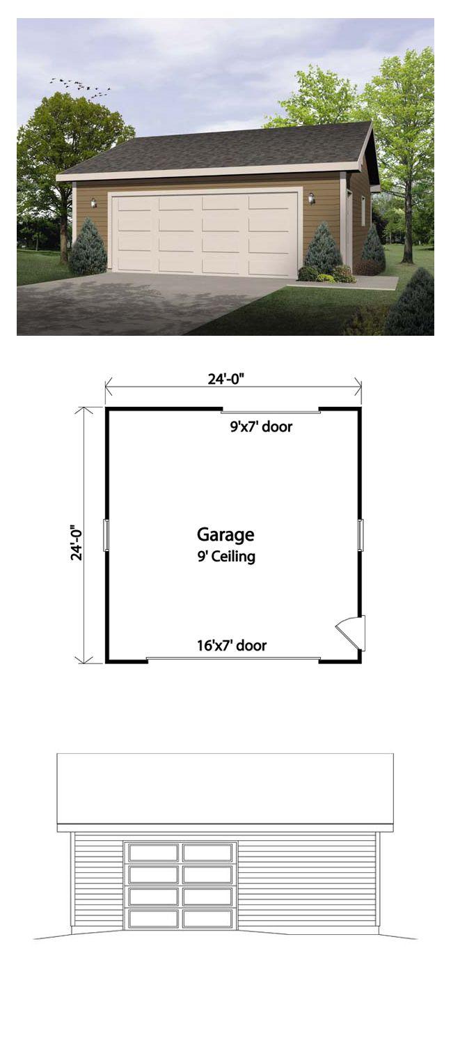 Two Car Garage Plan 49178 Total Garage Area 576 Sq Ft