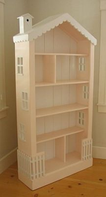 Turn a bookcase into a doll house. Or even use it as a bookcase still and now its just cuter. Click through for other dollhouses