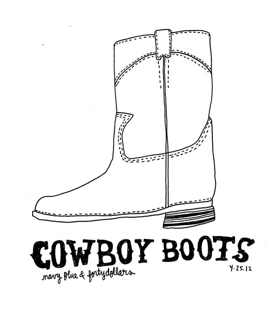 Blue Cowboy Boot Template Printable