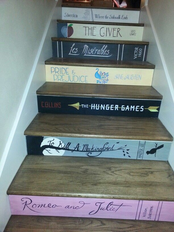 Stairs Painted To Look Like Book Spines Everyone Picked