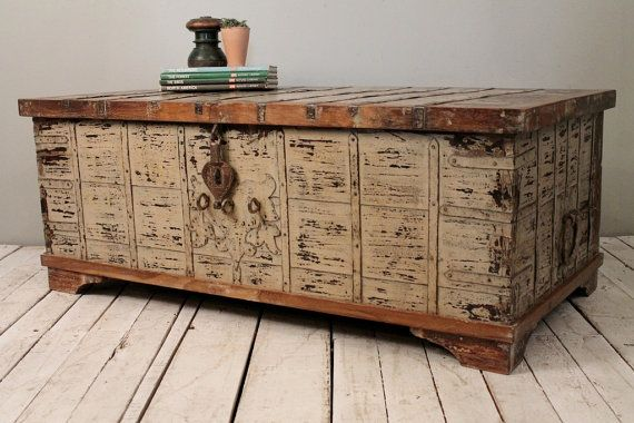 Reclaimed Salvaged Antique Indian Wood Iron And Brass