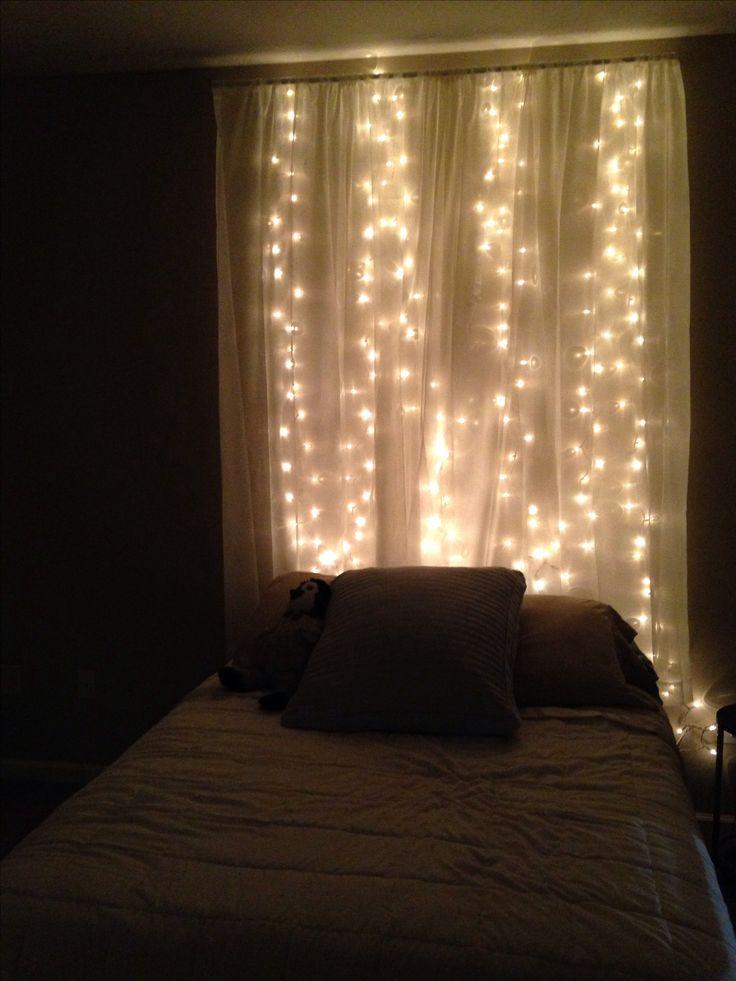 String Lights Behind Sheer Curtain Headboard Love This