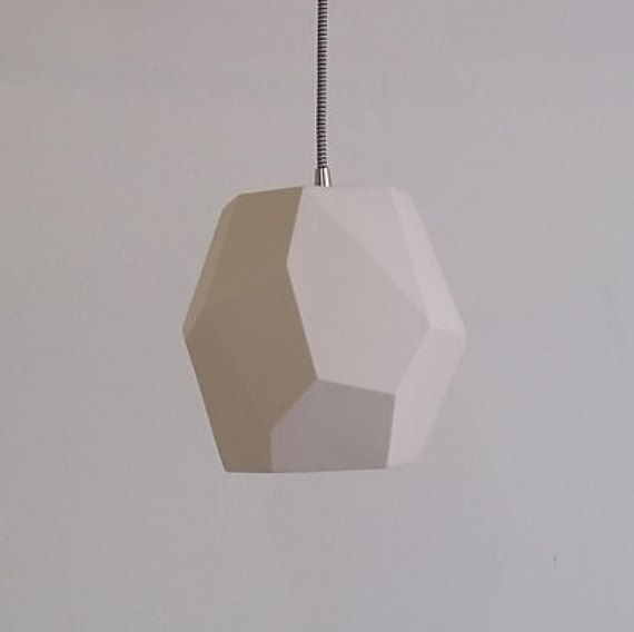 Bedside pendant - Geometric Pendant Light, Translucent Porcelain, Choose your cord and canopy color: