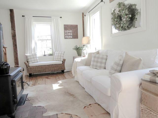 Ikea Ektorp Sofa, Blekinge White, Beige Cowhide Rug, White