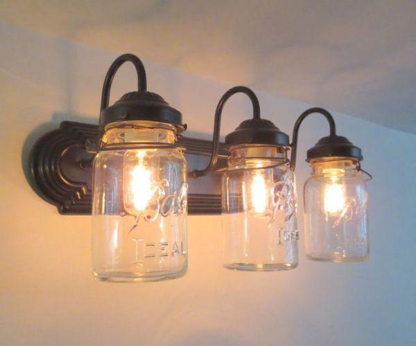 Bathroom Mason Jar TRIPLE Vanity Wall Sconce Light, Oil ...