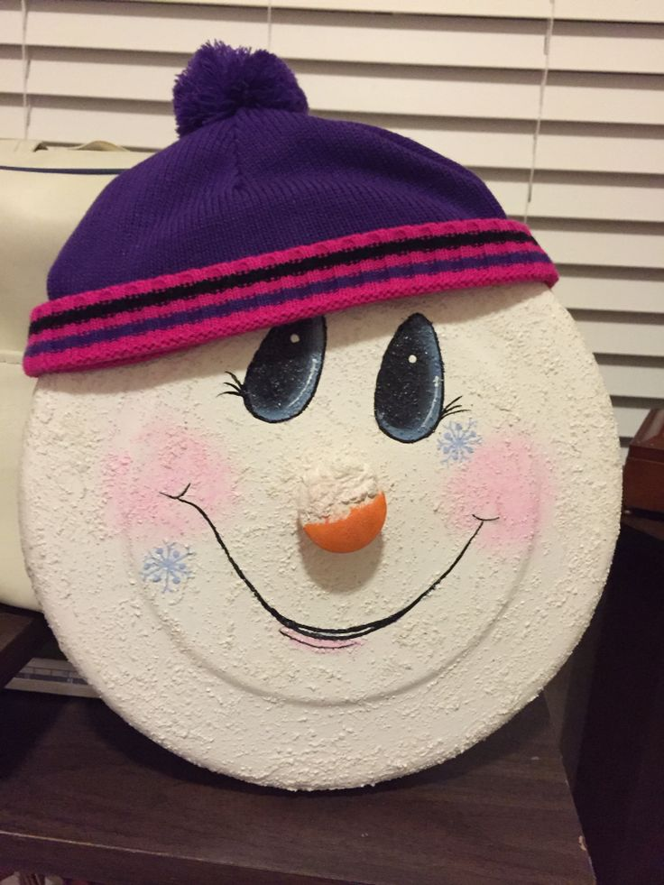 Snowman Pot Lid Re Purposed Crafts And Paintingmy Own Pinterest Snowman Pots And Pot