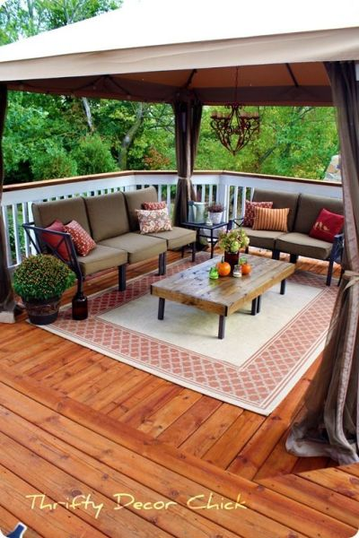 outdoor patio decorating ideas Store-bought gazebo on deck instead of building a cover