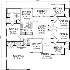 Craftsman Style House Plans 1988 Square Foot Home 1 Story 5 Bedroom And