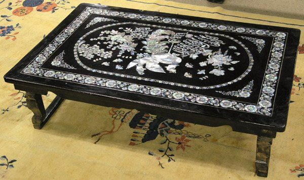 Korean Mother Of Pearl Inlay Low Table Black Lacquer