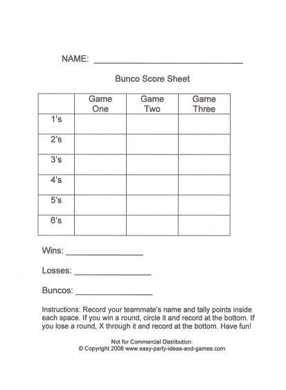 Bunco Score Sheets Keeping A Master Tally At The Bottom