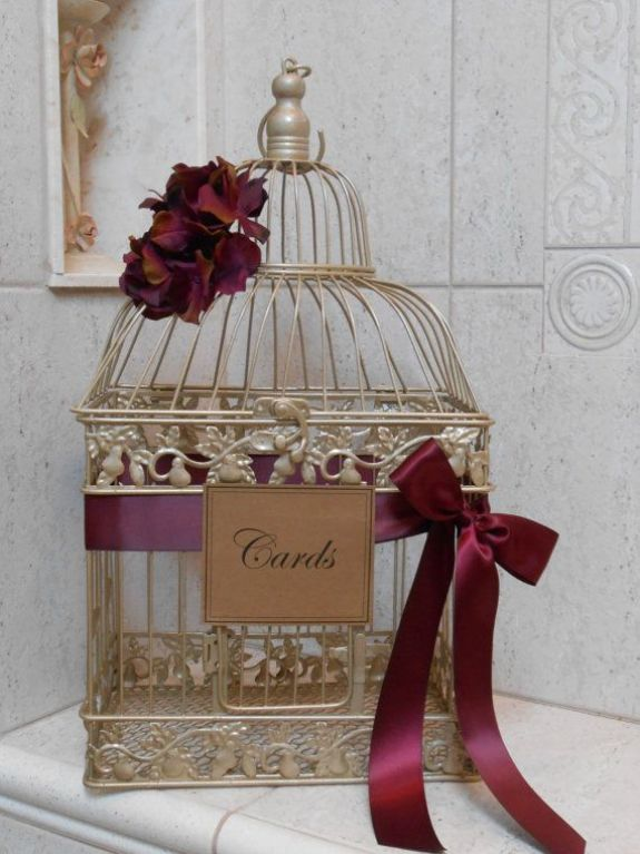 Gold & Burgundy Birdcage Wedding Cardholder / Card Box / by YesMoreFunk: