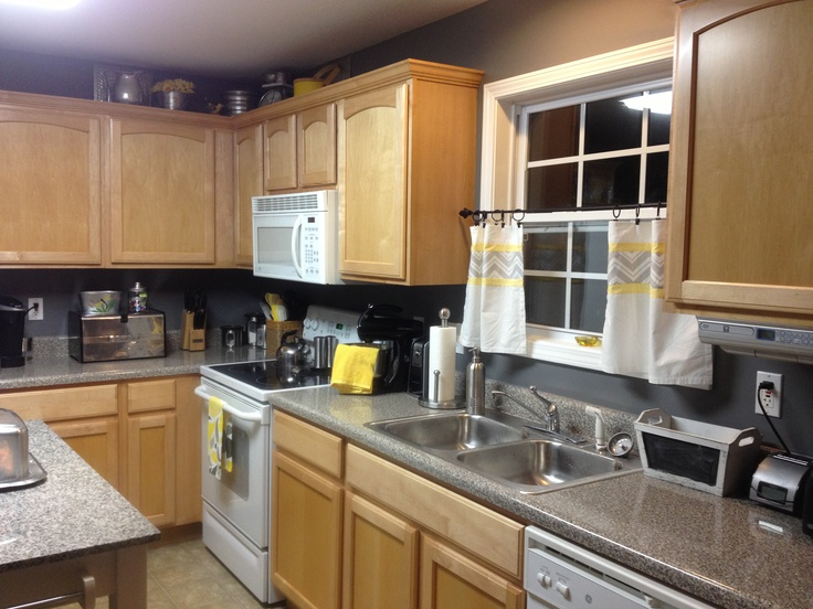 grey and yellow kitchen home decor pinterest yellow kitchens curtains and grey on kitchen ideas yellow and grey id=95226