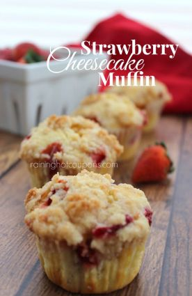 Strawberry Cheesecake Muffins - 2 whole cups of chopped strawberries are in the batter and the surprise filling is a sweet cream cheese mixture.: