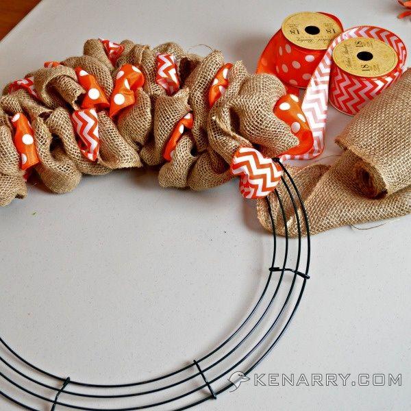 DIY Summer Burlap Wreath: Orange Chevron and Polka Dot | Kenarry