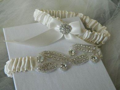 Wedding Garter Diamond White Bridal Garter Set by GartersByTania, $42.00