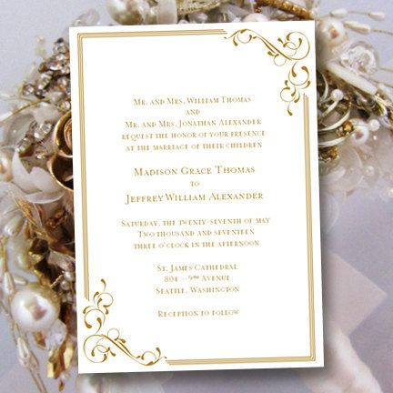 Printable Wedding Invitation Template Elegance Gold Also