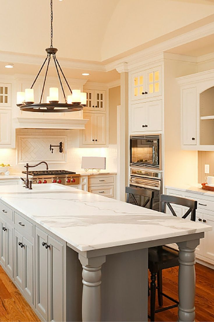 white kitchen with grey island kitchen ideas pinterest ovens gray island and ceilings on kitchen ideas white and grey id=56542