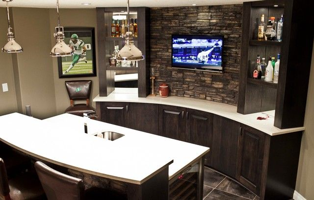Flat TV on The Wall Ideas for Rooms in Your House: Space Saving Tv On The Wall Ideas Studded On Home Basement Bar Backsplash With Open Shelv...