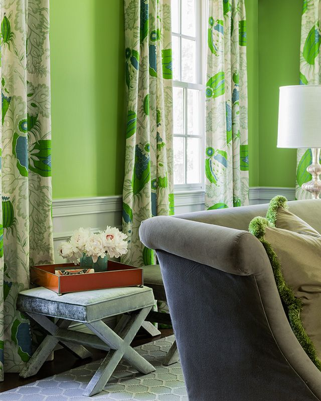 Dining Room With Apple Green Walls And Beautiful Curtains