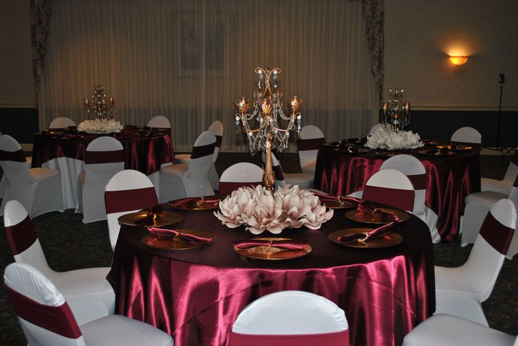 Sweet 16 MarsalaBurgundy And Champagne Table Decor With