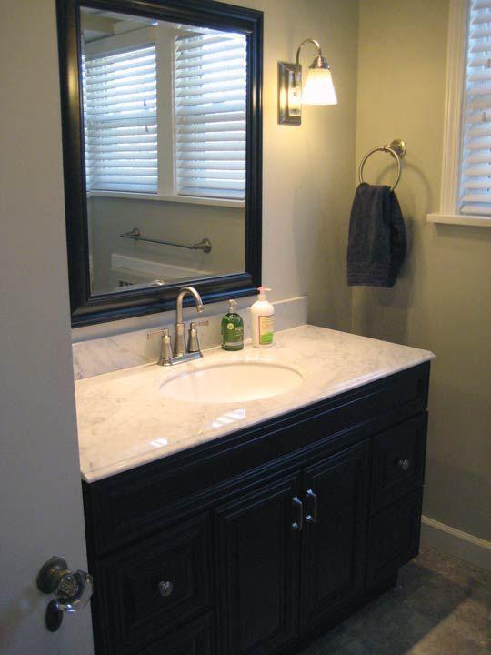 Cherry Vanity Amp Carrera Marble Sage Green Walls Bathrooms Pinterest Cherries Gray Walls
