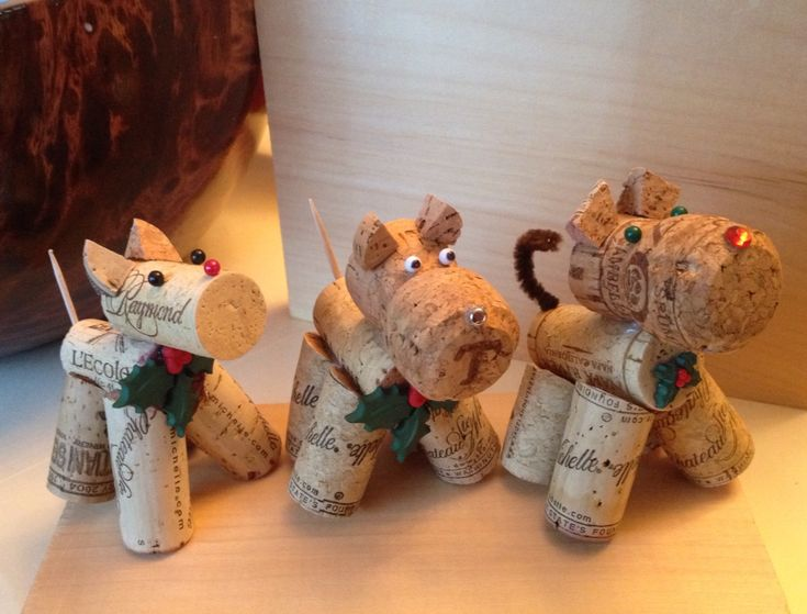 Dogs And Cat Cork Ornaments Or Decorations. Use A Hot Glue