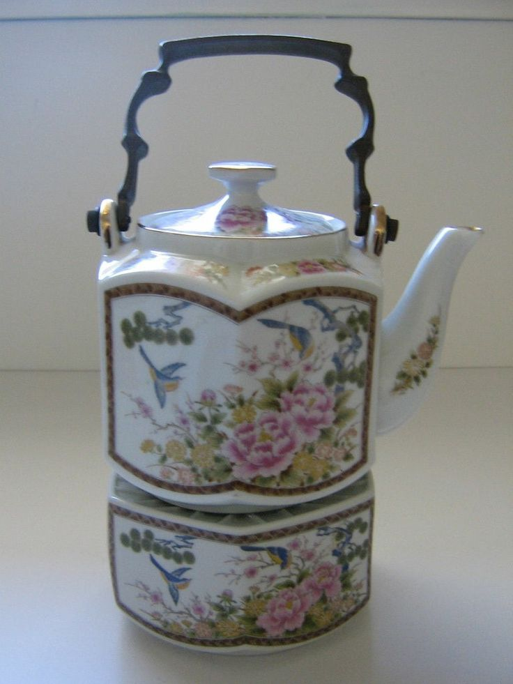 Antique Vintage Japanese Pastel Birds Flowers Teapot With