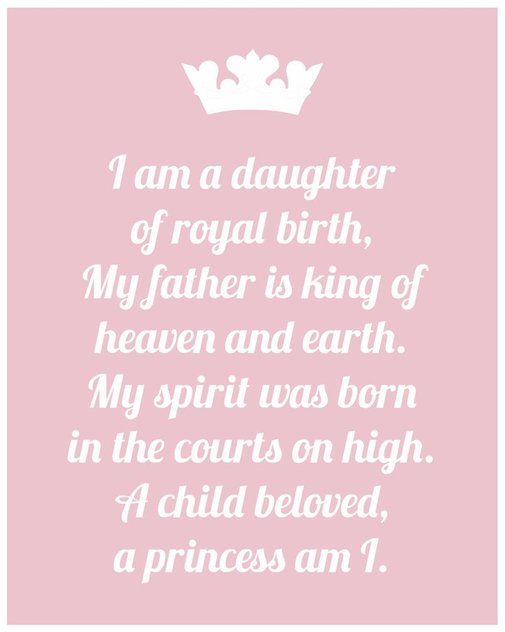 I am a daughter of royal birth. My father is King of heaven & earth. My