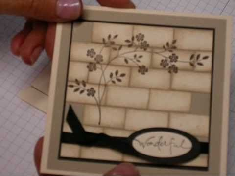Here is an easy tutorial using Stampin Up products on how to make a card with a faux brick wall look!