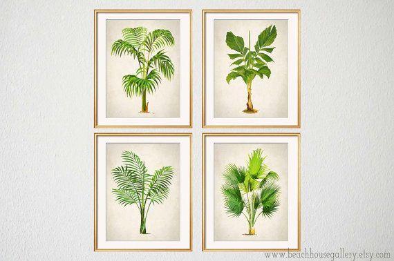 Palm Print Set Of 4, Botanical Prints, Palm Tree Wall Art