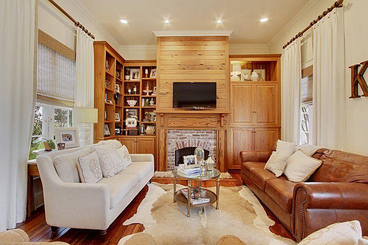Living Room; Neutral Colors; Cowhide Rug; Linen Panels