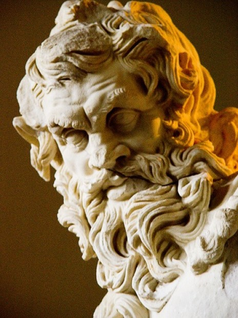 Detail of head of Zeus, Museum of Archeology, Antalya, Turkey: