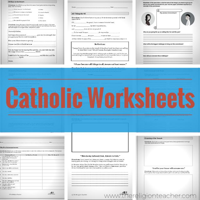 A collection of Catholic worksheets from The Religion Teacher and other Catholic websites.