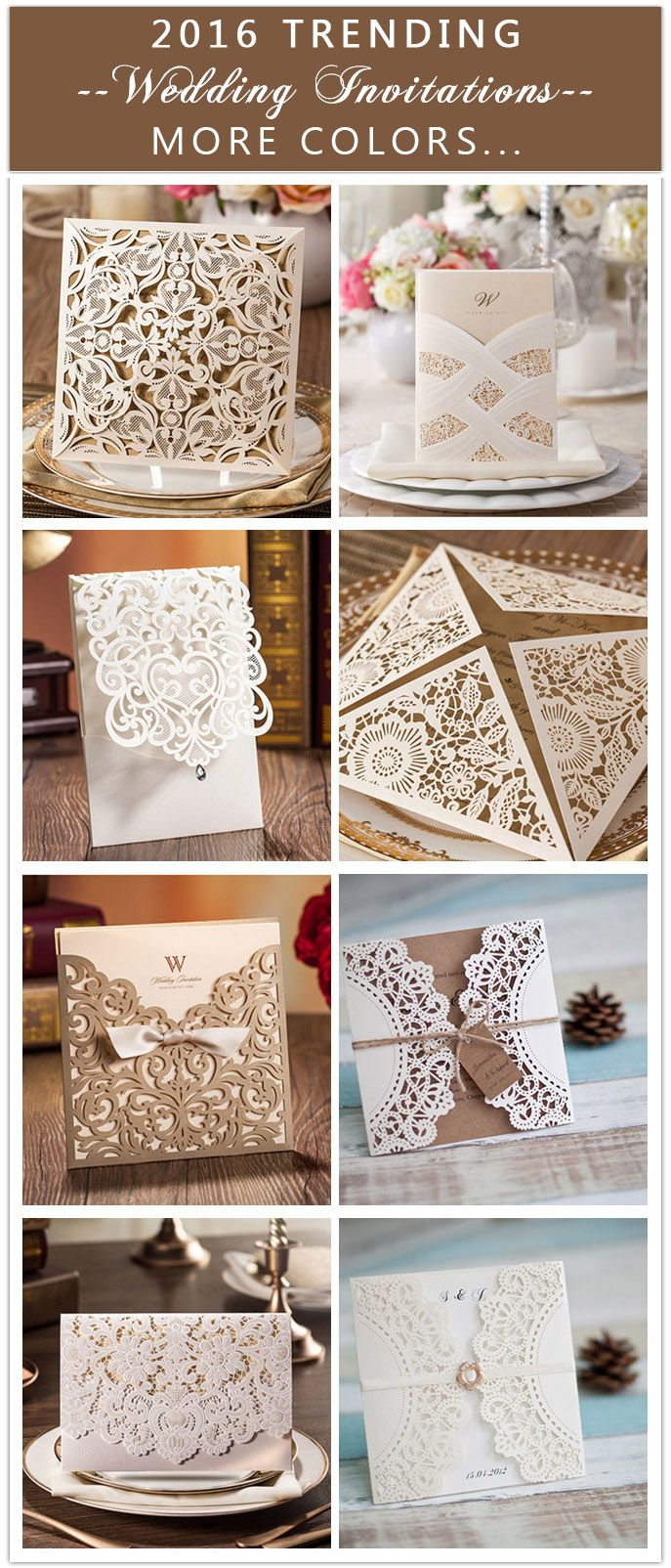 """2016 trending laser cut wedding invitations with more colors like navy blue, blush, black… USE COUPON CODE """"PRO"""" TO GET 15% OFF"""