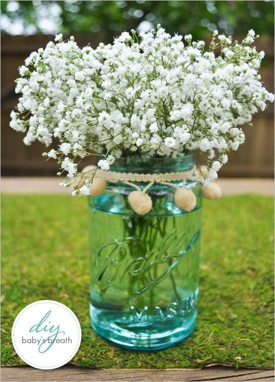 Mason Jar Floral Arrangement Wedding Decor DIY Wedding