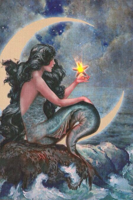 Black Hair Mermaid With Blue Tail Amp Holding A Star Sitting On A Rock Art Mermaids With Blue