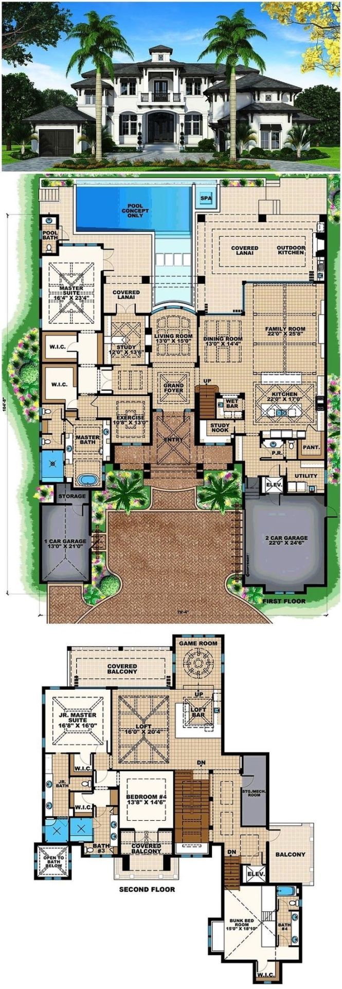 Florida Mediterranean House Plan 75954