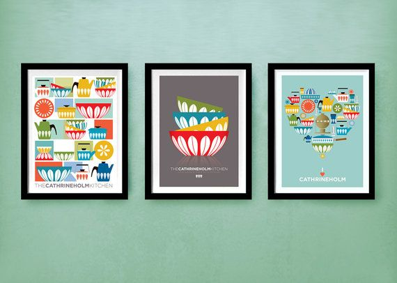 cathrineholm retro poster mid century modern kitchen art set of 3 prints 8 x 10 a4 home on kitchen decor paintings prints id=41401