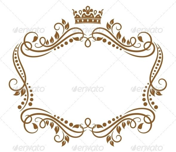 Retro Frame With Royal Crown And Flowers Medicine