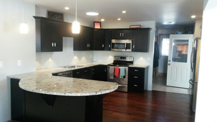 Espresso Cabinets Dark Hardwood Floors Alaskan White Granite Curved Peninsula Paint Color Is