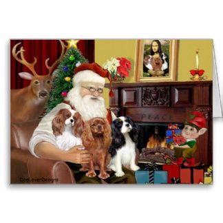 Santa And Three Cavaliers Greeting Card Cavalier King