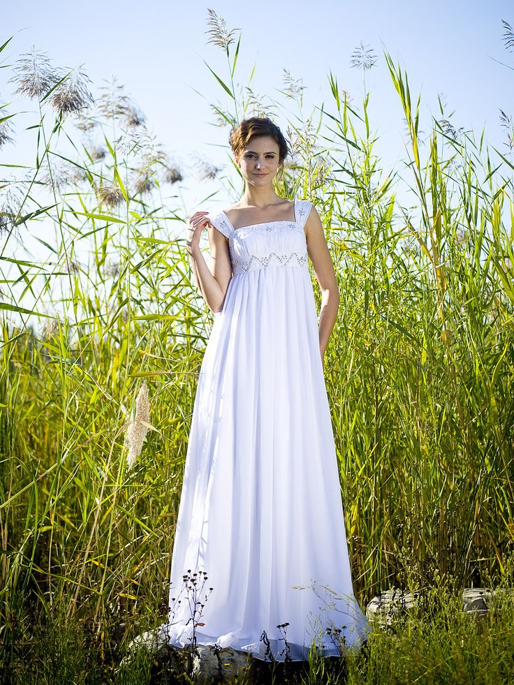 Square Neck Empire Waist Wedding Gown with Beaded Straps
