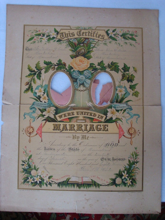 Vintage Marriage Certificate Printables And Ideas