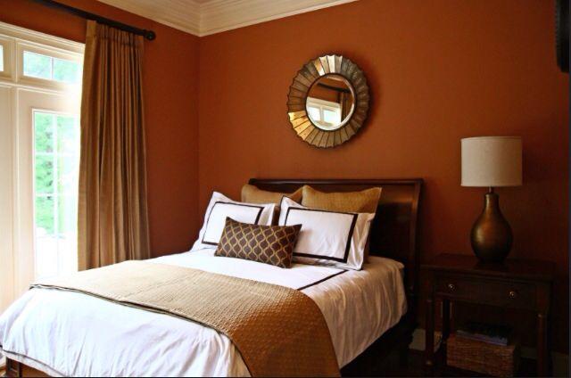 Burnt Orange Walls! Bedroom.