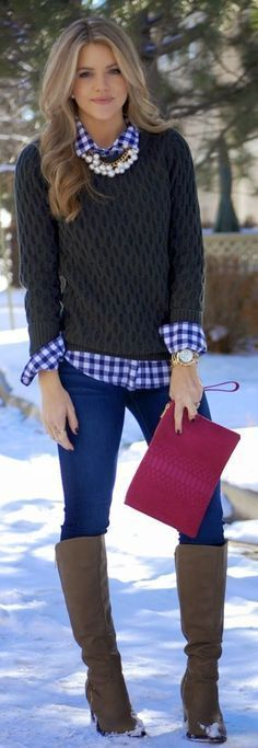 Stitch Fix Stylist: I love this look. Chunky sweater and checkered/flannel top. Could be my new staple for late fall/winter: