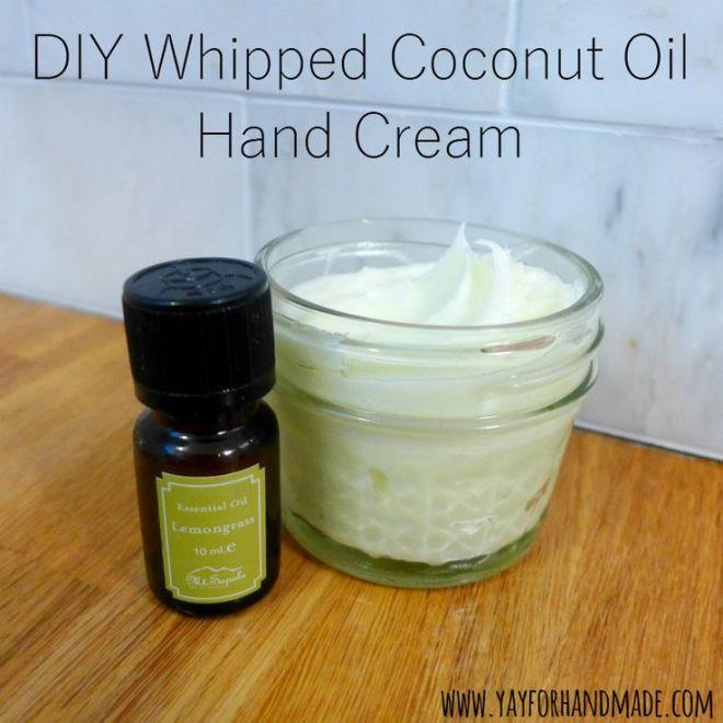 Diy whipped coconut oil hand cream easy beauty recipe