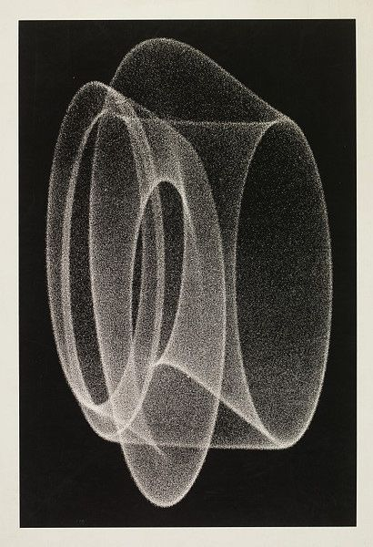 1970. This screenprint, by Herbert W. Franke (born 1927, Austria), is from a photograph of the screen of a cathode-ray oscilloscope. Oscilloscopes produce electrical signals that are displayed visually on the fluorescent screen of a cathode ray tube.: