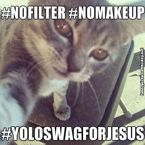Funny Facebook Twitter Hashtag Cat No Filter No Makeup Yolo Swag For Jesus Selfi
